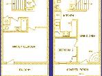 Floor plan - 950 square feet - two story casita with two bedrooms and 1/2 bath