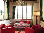 Living room with big with a fantastic skyline on Florence