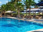 25 meter pool with restaurant at the canggu club