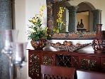 The buffet table in the dining area.
