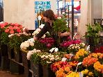 Buying flowers in the Marche Forville, just a few steps from the apartment.