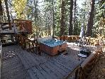 The deck with 7 person hot tub