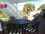 Enjoy meals at the outdoor table which is on the back deck and covered.