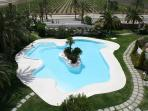 A view of the beautiful freeform pool from the terrace