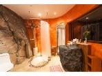 Red room volcanic bathroom