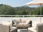 Views of the golf court and Esterel Hills from the fully equipped an furnished roof terrace