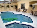 Private pool with spa and dining area