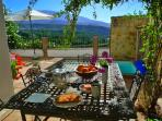 Breakfast on the patio at Casa Tagomago.