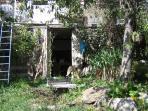 ingresso ripostiglio con cucce coibentate in giardino recintato