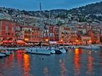 Villefranche-sur-Mer, lights up like a fairy tale in the evening