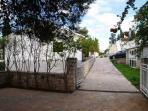 Villa's entrance with parking places