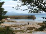 Old Head beach & pier near, Louisburgh.  Lifeguard patrolled bathing area.   DWR