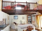 The mezzanine area above the lounge