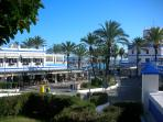 Entrance to Estepona Port with lots of restaurants, cafes and bars