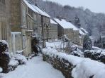 View of Tory cottages in winter