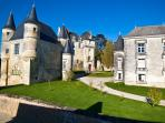 At the entrance to Chateau de La Celle-Guenand