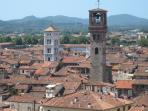 Climb the Guinigi Tower for this fantastic view of Lucca's rooftops and surrounding mountains.