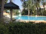 Large outside pool with Jacuzzi and kids pool. Newly built international restaurant overlooking pool