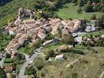 The village of Greolieres as paragliders see it.