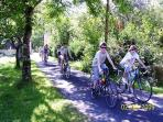 Energetic guests Cycle through our driveway on the way to Montignac, just 5 minutes by car