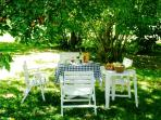 Alfresco lunch under the cherry tree,or breakfast w/fresh baked croissants bought from the bakery