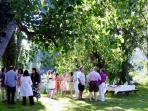 Enjoy Aperitifs by the river before proceeding to the covered terrace for al fresco lunch and BBQ
