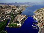 City of Trogir - the bridge connection on the right side to ?iovo Island (Okrug Gornji)