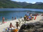 One of the beach areas at Lake Scanno