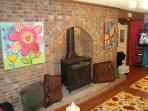 Bunk Bedroom with cheerful colors, charming brick wall, 50' HDTV