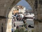 The twice weekly market in Sulmona's main square