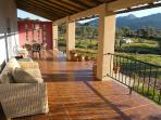 Large covered terrace with fine views of the Sierra de Montanchez and its castle