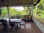 View from the large terrace dining area out over the jungle, mangrove forest & Puerto Galera Har