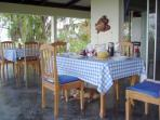 Breakfast on the veranda, all meals can be al fresco