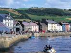Aberaeron famous historical harbour town with its colourful houses, cafes and restaurants.