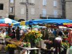 Colourful Villefranche market, 30 minutes drive