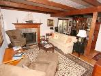 Post and Beam Living Room is simply amazing. (Sleeper sofa for extra guests)