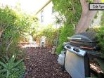 Lush green side yard with BBQ and eating area