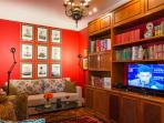 Private Library & Media Room with 2 Sofa Beds for larger groups.