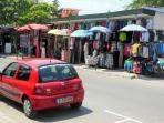 Local stalls selling bargains pack the streets of Sunny Beach