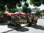 The daily fruit and vegetable market in the town square