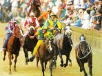 The famous traditional horse race 'Palio di Siena'