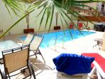 8 x 4m POOL with HEATING option. Sunloungers. table etc