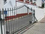 Gates to the block provide security