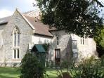 The Chancel across the churchyard