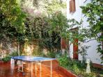 garden with table tennis (ping pong)