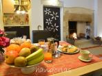 Dining table and fruits