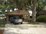 Garage sits behind 2 car carport - plenty of parking and room for your boat or fishing equipment