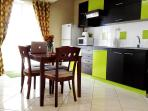 Airy, practical and modern are the right words for the kitchen, equipped with the vitals and more