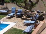 blue patio lounging area
