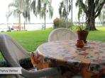 lakefront cottage patio